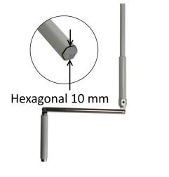 Manivelle hexagonal 10 mm acier gris