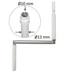 Manivelle Ø13 mm aluminium blanc