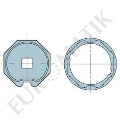 Adaptateur pour moteur Neo Ø 58 mm centre carré 15 mm pour tube octogonal 70 mm