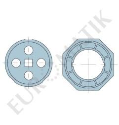 Adaptateur pour moteur Neo Ø 58 mm centre carré 15 mm pour tube rond 102 mm