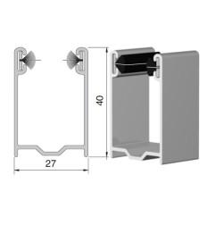 Coulisse aluminium traditionnelle blanche 40x27 mm (2 mètres)