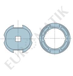 Adaptateur pour moteur Neo Ø 45 mm centre carré 15 mm pour tube rond Déprat 89 mm