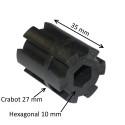 Moyeu d'entraînement crabot 27 mm – rond Ø 12 mm – hexagonal 10 mm