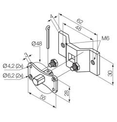 Kit patte de support et pivot carré 10 mm avec trous M6