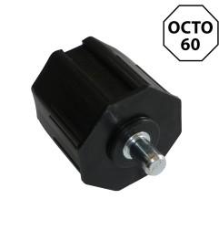 Embout octogonal 60 mm avec pivot acier 12 mm