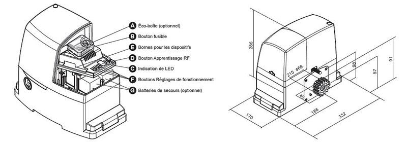 PL600 - Motorisation portail coulissant et caractéristiques