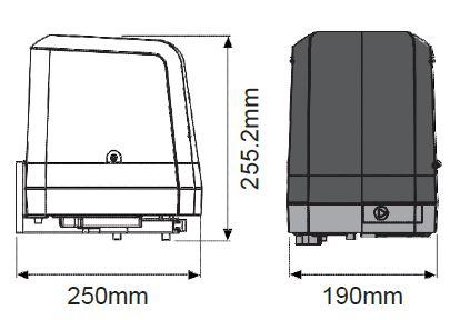 Dimensions moteur Powertech PA250
