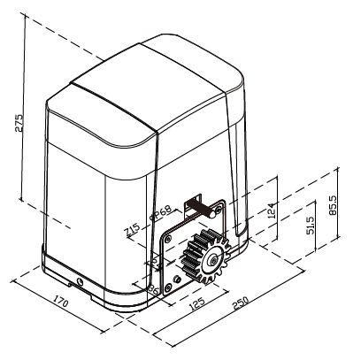 Dimensions moteur coulissant PL600