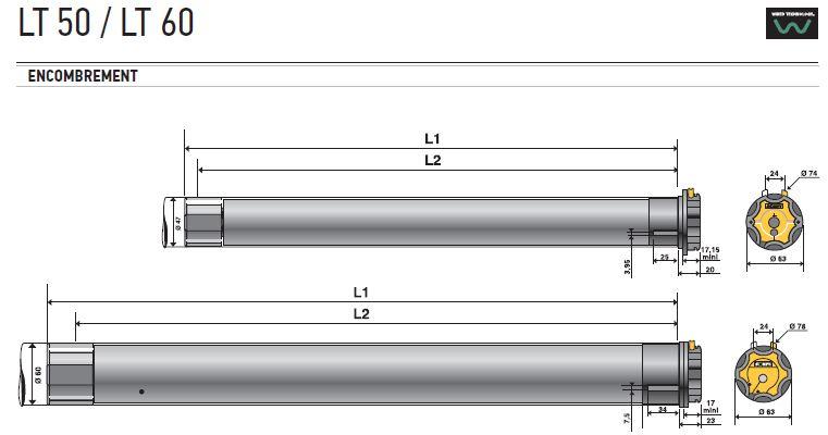 Encombrement LT50 / LT 60