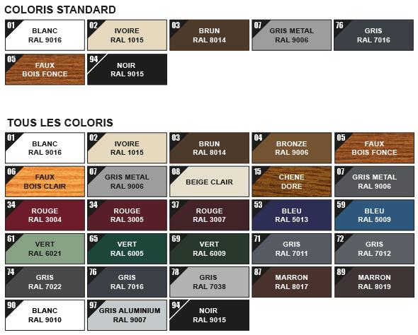 Coloris disponibles pour volet roulant