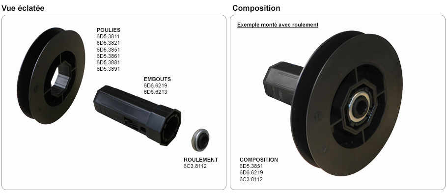 embout octogonal 60 mm pour tube de volet roulant. Black Bedroom Furniture Sets. Home Design Ideas